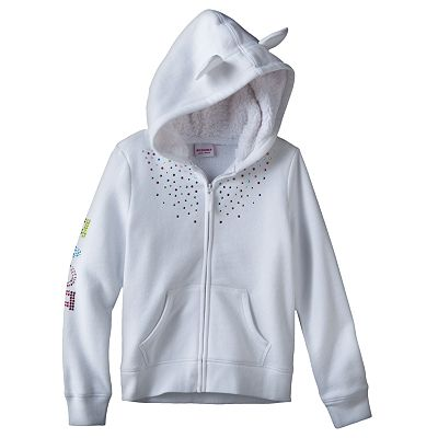 SONOMA life + style Love Rhinestud Fleece Hoodie - Girls 4-6x