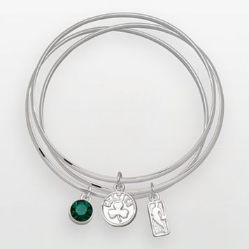 Boston Celtics Silver Tone Crystal Charm Bangle Bracelet Set