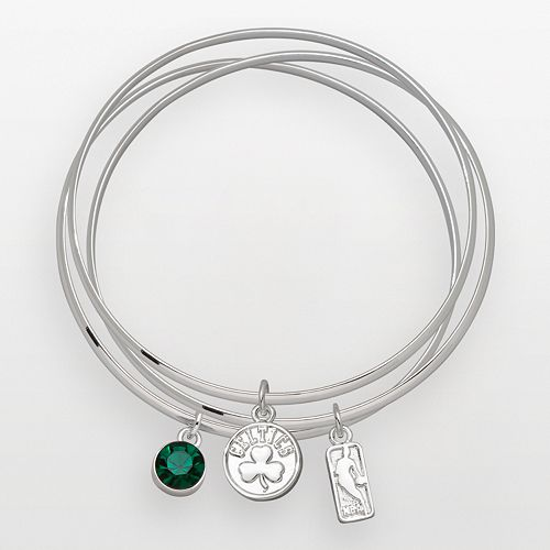 Boston Celtics Silver Tone Crystal Charm Bangle Bracelet Set