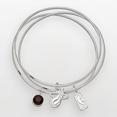 Miami Heat Silver Tone Crystal Charm Bangle Bracelet Set