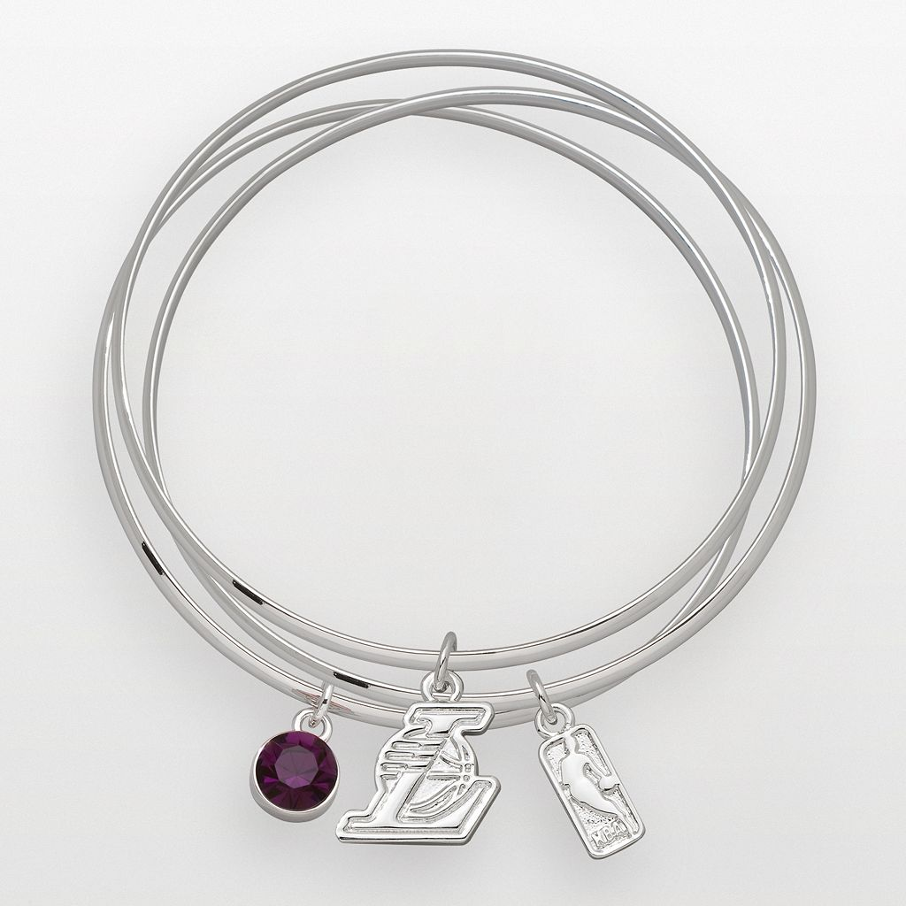 Los Angeles Lakers Silver Tone Crystal Charm Bangle Bracelet Set