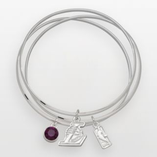 Los Angeles Lakers Silver Tone Crystal Charm Bangle Bracelet Set