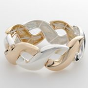 Trifari Two Tone Openwork Stretch Bracelet