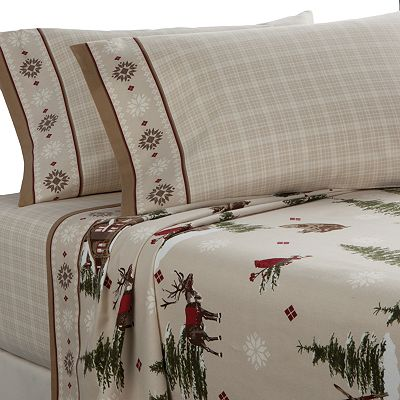 Home Classics Lodge Flannel Sheet Set - Queen