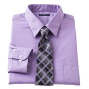 Croft and Barrow Classic-Fit Point-Collar Dress Shirt with Plaid Tie Box Set