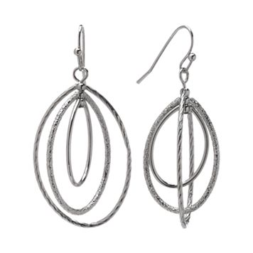 Napier Silver Tone Textured Concentric Oval Hoop Drop Earrings