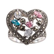 Lavish by TJM Sterling Silver Cubic Zirconia, Simulated Quartz Openwork Heart Ring - Made with Swarovski Marcasite