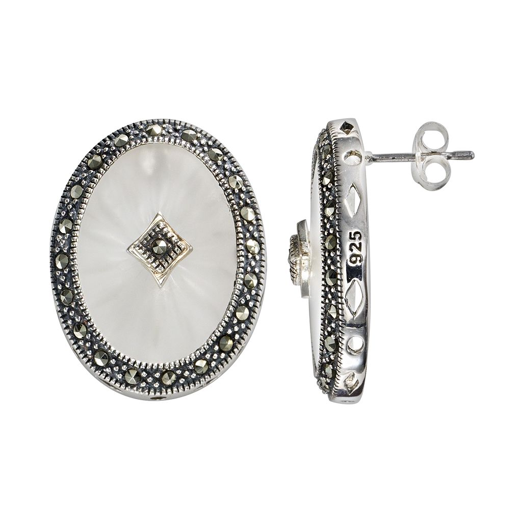Lavish by TJM Sterling Silver Sunray Crystal Oval Frame Stud Earrings - Made with Swarovski Marcasite