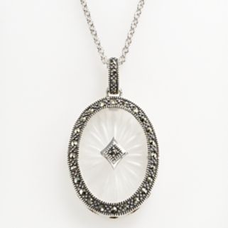 Lavish by TJM Sterling Silver Sunray Crystal Oval Frame Pendant - Made with Swarovski Marcasite