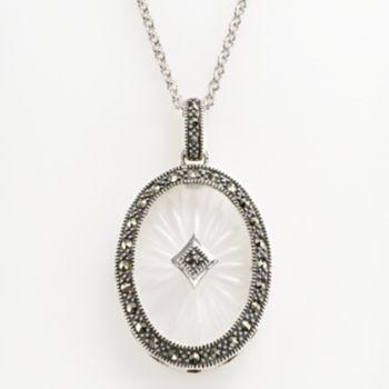 Lavish by TJM Sterling Silver Sunray Crystal Oval Frame Pendant - Made with Swarovski Marcasite