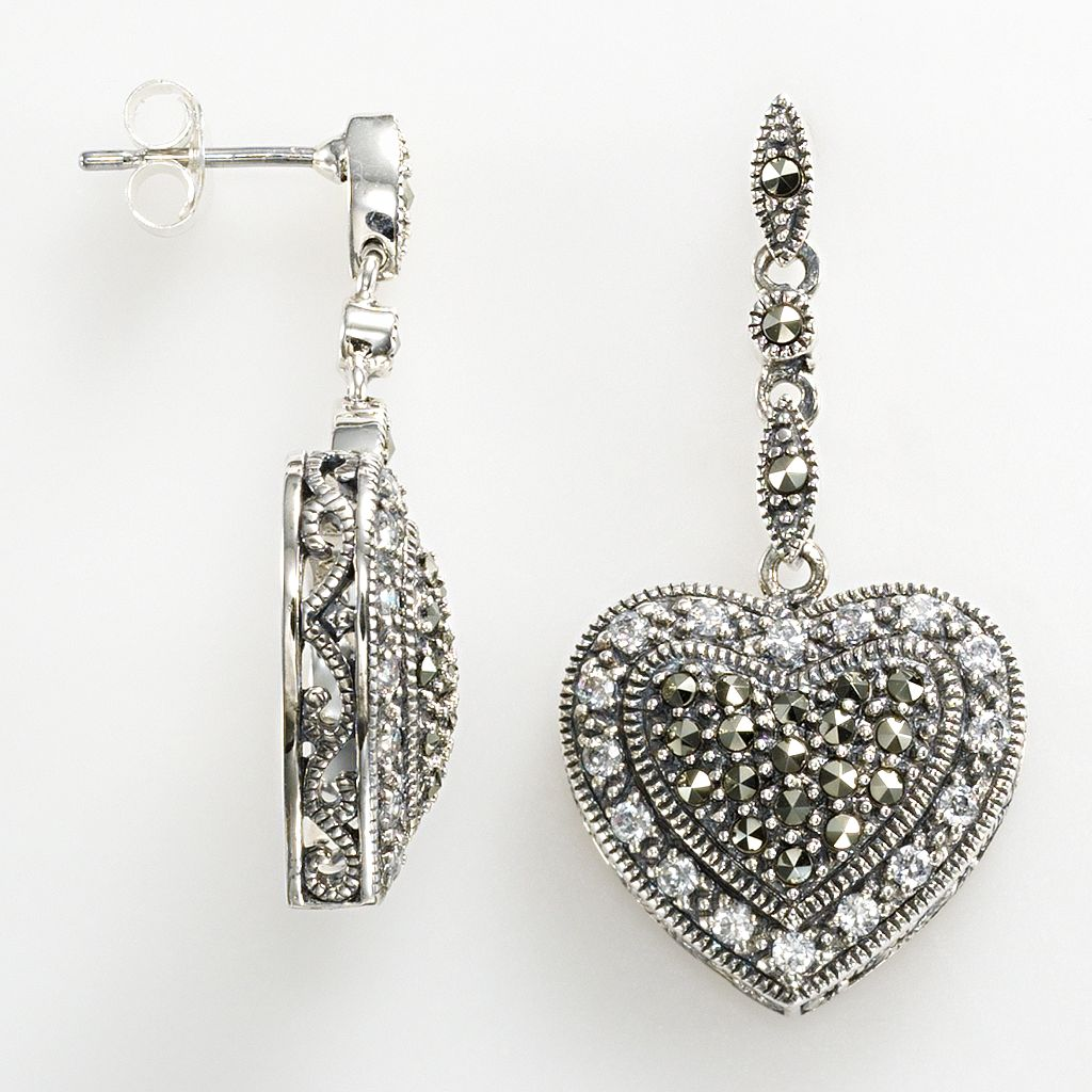 Lavish by TJM Sterling Silver Cubic Zirconia Tiered Heart Linear Drop Earrings - Made with Swarovski Marcasite