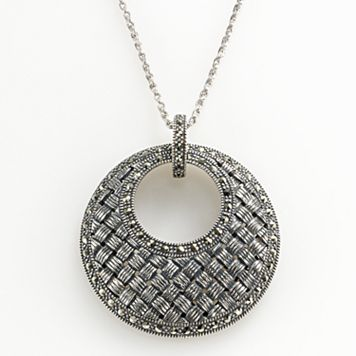 Lavish by TJM Sterling Silver Woven Circle Pendant - Made with Swarovski Marcasite