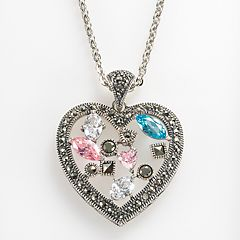 Lavish by TJM Sterling Silver Cubic Zirconia & Simulated Quartz Openwork Heart Pendant - Made with Swarovski Marcasite