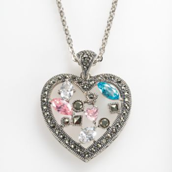 Lavish by TJM Sterling Silver Cubic Zirconia and Simulated Quartz Openwork Heart Pendant - Made with Swarovski Marcasite
