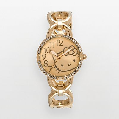 Hello Kitty Gold Tone Simulated Crystal Bangle Watch - Women