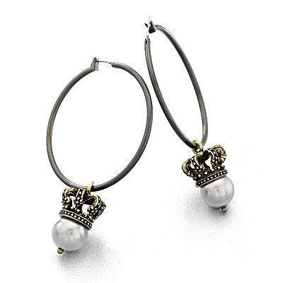 Rock and Republic Two Tone Simulated Pearl and Crown Hoop Earrings