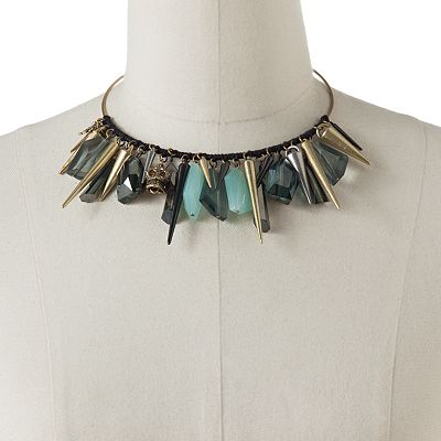 Rock and Republic Tri-Tone Bead and Spike Collar Bib Necklace