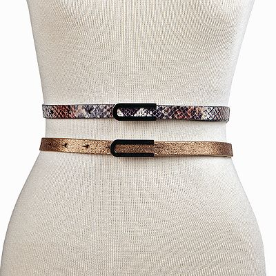 Apt. 9 Snakeskin Metallic Belt Set