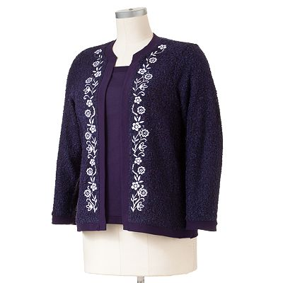 Cathy Daniels Floral Mock-Layer Boucle Sweater - Women's Plus
