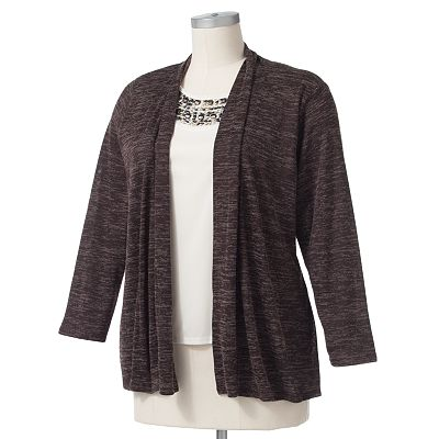 Cathy Daniels Space-Dyed Mock-Layer Cardigan - Women's Plus