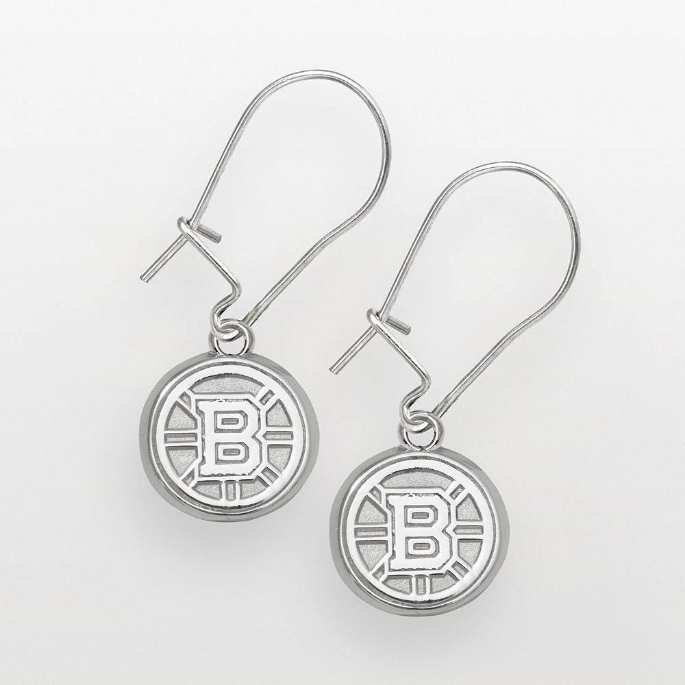 LogoArt Boston Bruins Sterling Silver Logo Drop Earrings