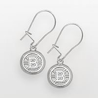 LogoArt Boston Bruins Sterling Silver Logo Drop Earrings