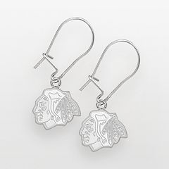 LogoArt Chicago Blackhawks Sterling Silver Logo Drop Earrings