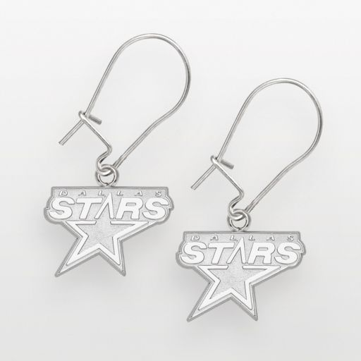 LogoArt Dallas Stars Sterling Silver Logo Drop Earrings