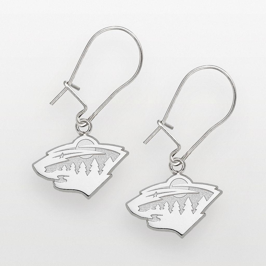 LogoArt Minnesota Wild Sterling Silver Logo Drop Earrings