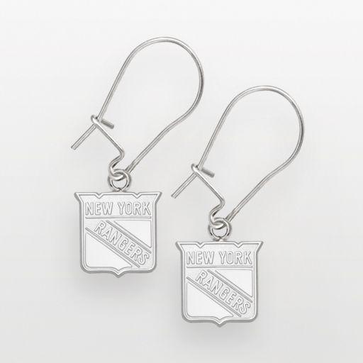 LogoArt New York Rangers Sterling Silver Logo Drop Earrings