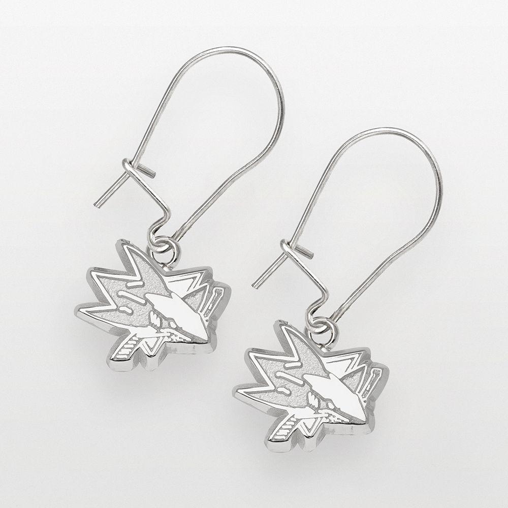 LogoArt San Jose Sharks Sterling Silver Logo Drop Earrings