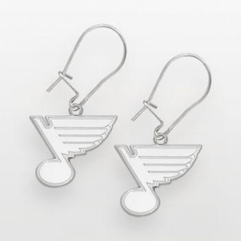 LogoArt St. Louis Blues Sterling Silver Logo Drop Earrings