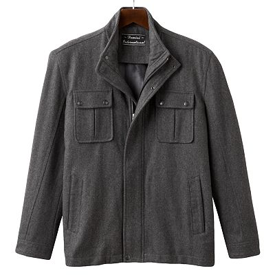 Domini Button-Front Wool Blend Jacket - Big and Tall