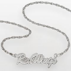 LogoArt Detroit Red Wings Sterling Silver Script Necklace