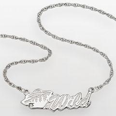 LogoArt Minnesota Wild Sterling Silver Script Necklace
