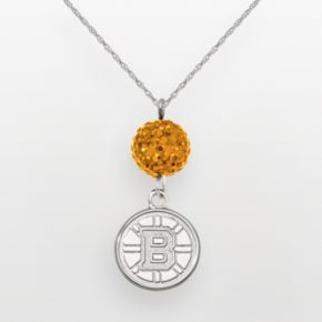 LogoArt Boston Bruins Sterling Silver Crystal Ball Pendant