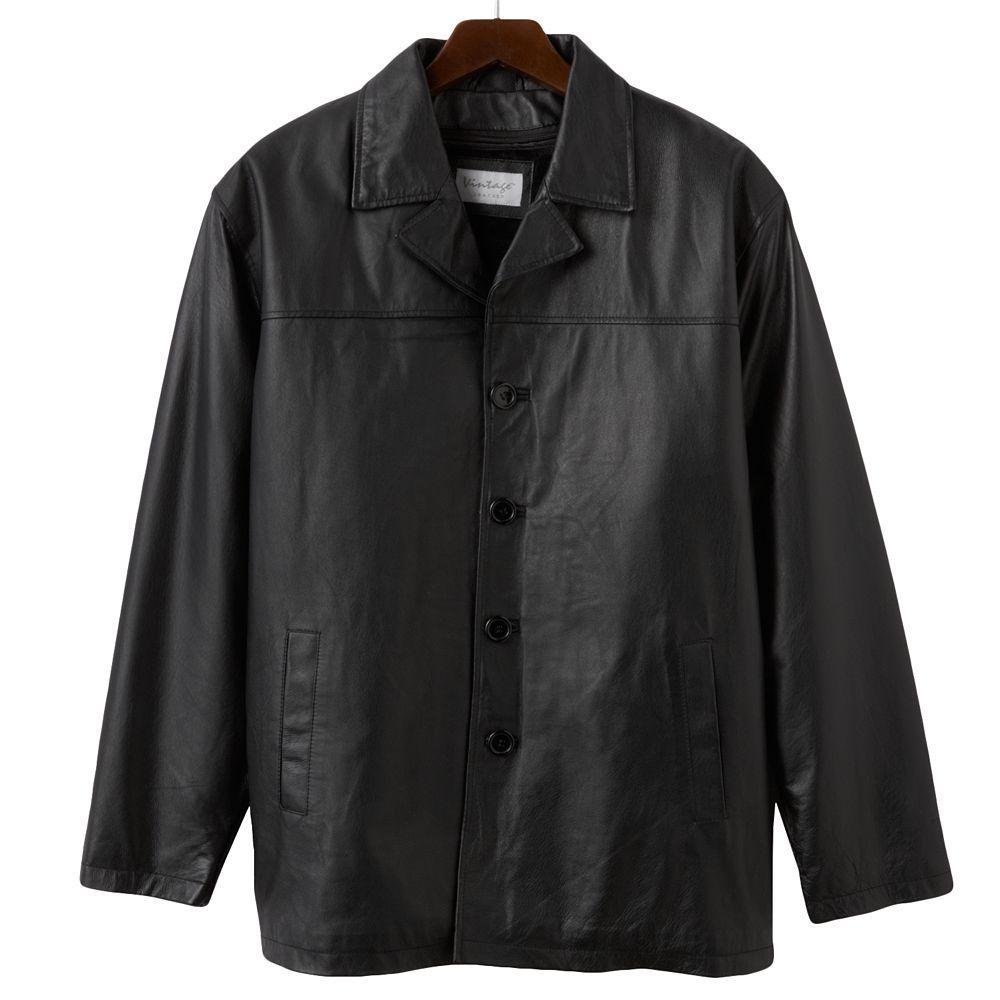 Vintage Leather Car Coat In Black