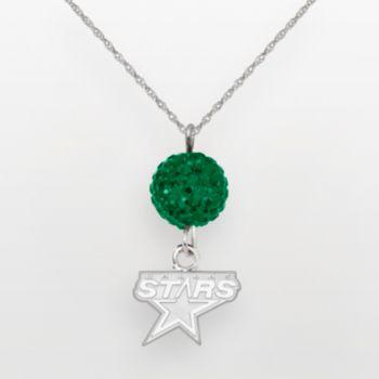 Dallas Stars Sterling Silver Crystal Ball Pendant