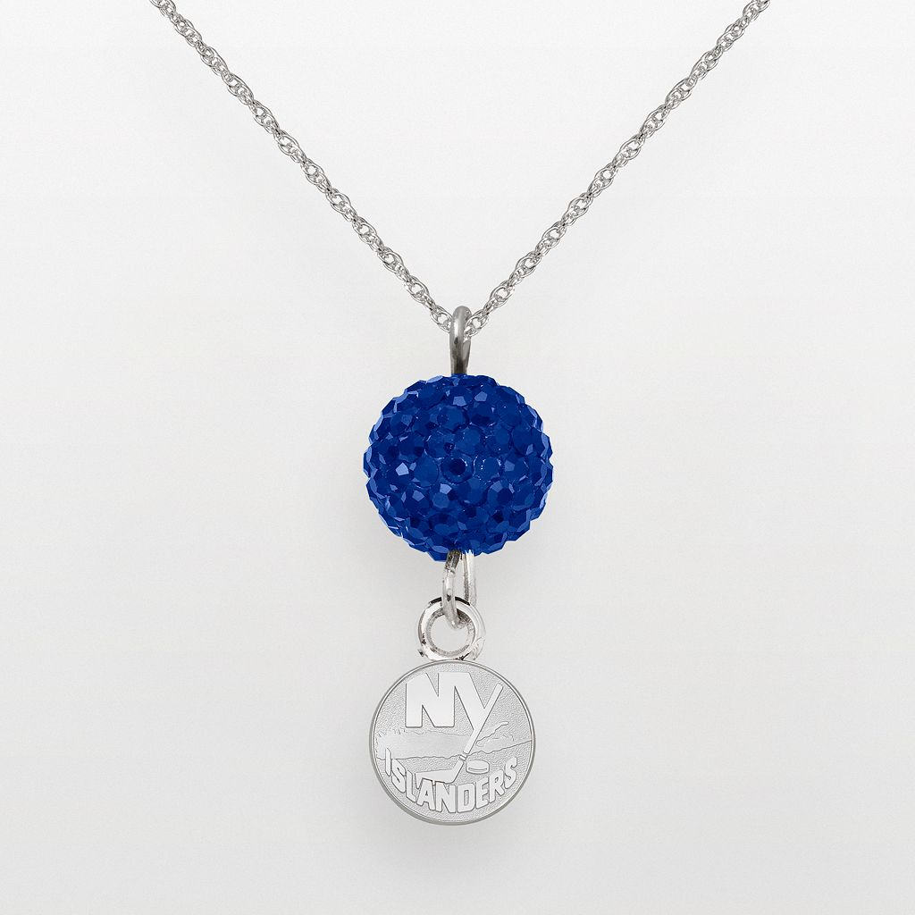LogoArt New York Islanders Sterling Silver Crystal Ball Pendant