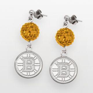 LogoArt Boston Bruins Sterling Silver Crystal Ball Drop Earrings