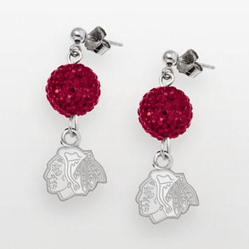 LogoArt Chicago Blackhawks Sterling Silver Crystal Ball Drop Earrings