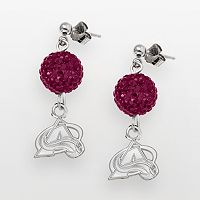 LogoArt Colorado Avalanche Sterling Silver Crystal Ball Drop Earrings