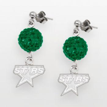 Dallas Stars Sterling Silver Crystal Ball Drop Earrings