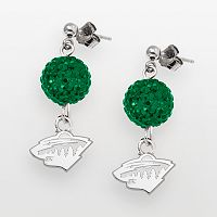 LogoArt Minnesota Wild Sterling Silver Crystal Ball Drop Earrings
