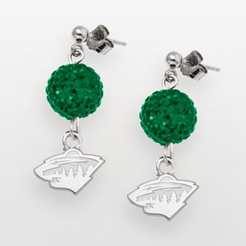 LogoArt Minnesota Wild Sterling Silver Crystal Ball Drop Earrings