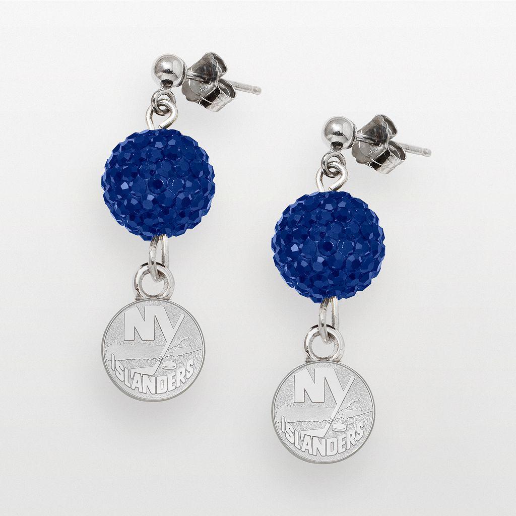 LogoArt New York Islanders Sterling Silver Crystal Ball Drop Earrings