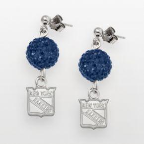 LogoArt New York Rangers Sterling Silver Crystal Ball Drop Earrings