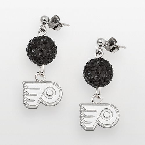 LogoArt Philadelphia Flyers Sterling Silver Crystal Ball Drop Earrings