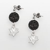 LogoArt Pittsburgh Penguins Sterling Silver Crystal Ball Drop Earrings