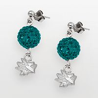 LogoArt San Jose Sharks Sterling Silver Crystal Ball Drop Earrings